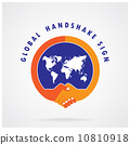 Global handshake abstract sign. Business  concept. 10810918