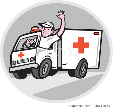 Ambulance Emergency Vehicle Driver Waving Cartoon 10831025