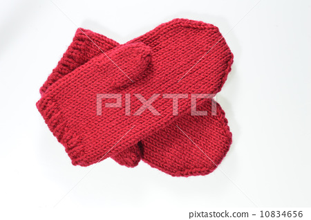 紅色毛線手套 10834656