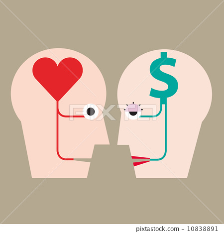 Heart and money in head concept 10838891