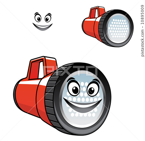 Big red torch or flashlight with a happy smile 10895009
