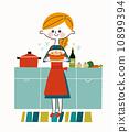 女 做菜 廚房 10899394