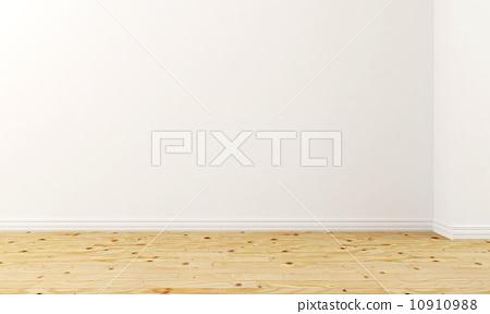 3D empty room wooden flooring 10910988