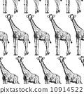 Sketch giraffe, vector vintage seamless pattern 10914522