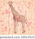 Sketch giraffek, vector vintage background 10914523