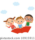 Children flying in the sky riding a book 10915911