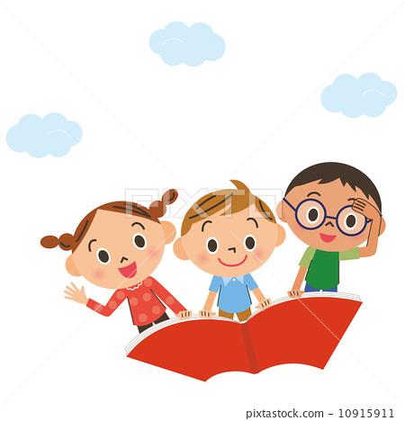 飞行在天空的孩子骑书 10915911