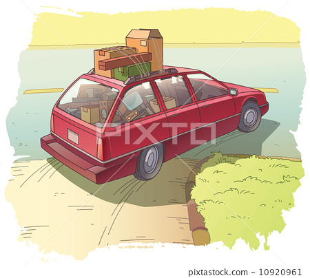 Red Station Wagon with a Cargo 10920961