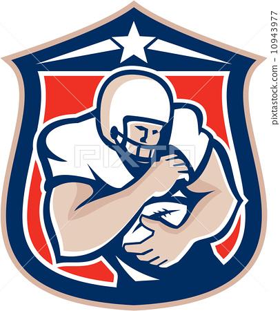American Football Holding Ball Shield Retro 10943977