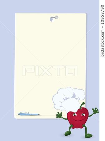 Apple-cartoon-character-near-menu-board 10958790