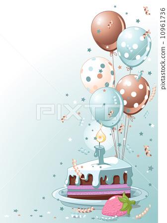 Phenomenal Slice Of Birthday Cake With Balloons Stock Illustration Funny Birthday Cards Online Sheoxdamsfinfo