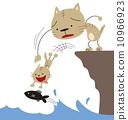無茶をする子猫を捕まえる親猫 10966923