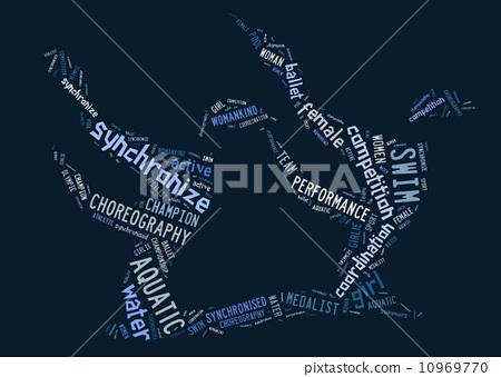 Aquatics Synchronized Swimming pictogram on blue background 10969770