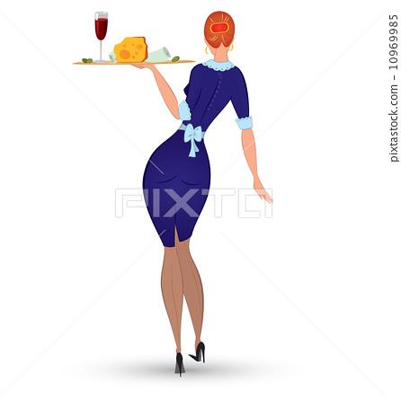 Waitress in blue uniform vector 10969985