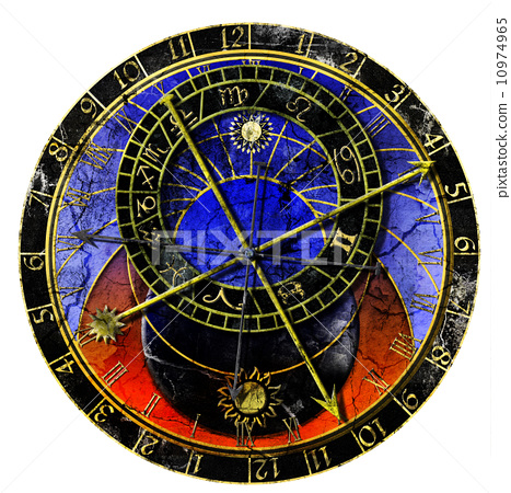astronomical clock in grunge style 10974965