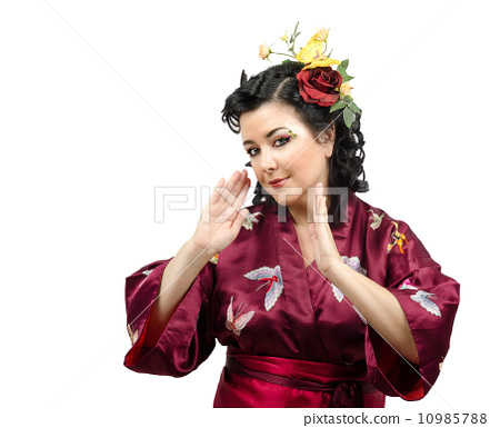 Portrait of emotional kimono woman 10985788