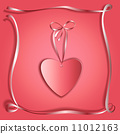 Romantic gift card with abstract silk ribbon frame and heart 11012163
