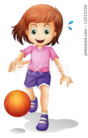 A little girl playing basketball 11013330