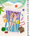 沙灘 夫婦 一對 11013818