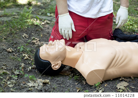 Stock Photo: First aid training detail