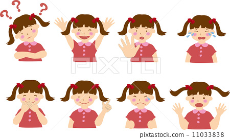Various girls' facial expressions 11033838