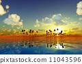 yellow sunset over tropic sea 11043596