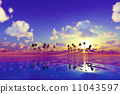 pink sunset over tropic sea 11043597