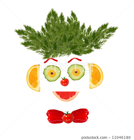 Smiling man portrait made of vegetables and fruits 11046180