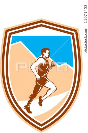 Marathon Runner Running Side View Retro 11071452