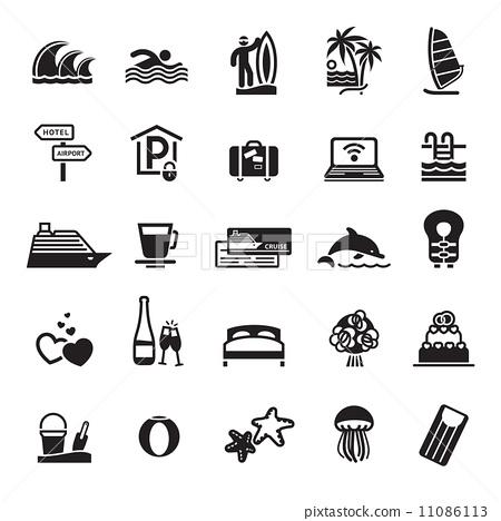 Stock Illustration: Signs. Vacation, Travel & Recreation.