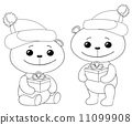 Teddy bears with gift boxes, contours 11099908