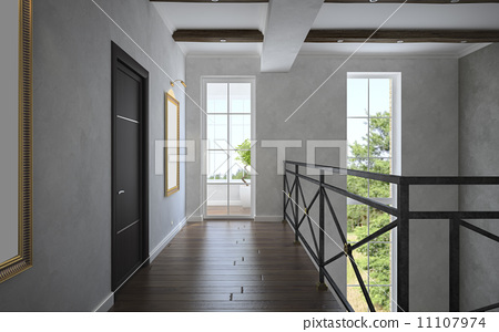 Stock Illustration: Part 3 of the classical interior, staircase view