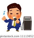 カラオケで熱唱するビジネスマン 11113652