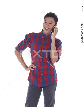 Young male holding phone 11117275