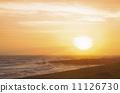 sunset, water's edge, solar 11126730