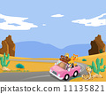 A pink car with animals travelling 11135821