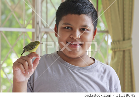 Boy and bird 11139045
