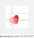 Romantic gift package with paper ribbon and red heart 11151537