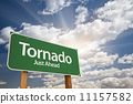 Tornado Green Road Sign 11157582