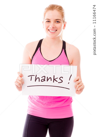 Young woman showing thanks sign on white background 11166474