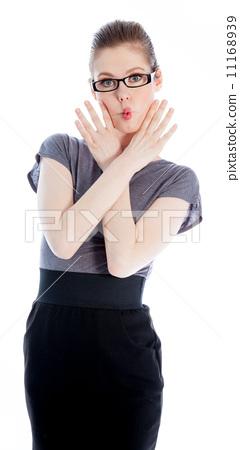 Attractive caucasian girl in her 30 shot in studio 11168939