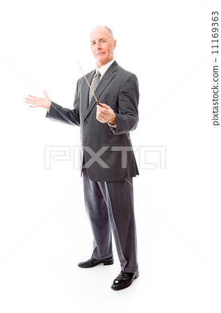 Businessman holding a conductor's baton 11169363