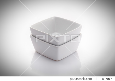 two square china bowls isolated on a white background 11181907
