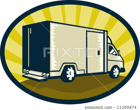 Delivery van viewed from rear side 11209874