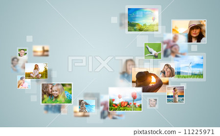 Travel and photo sharing technology background 11225971