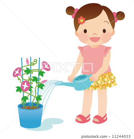 watering plants, child, kid - Stock Illustration [11244033 ...