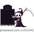 Grim reaper  pointing to tombstone 11251442