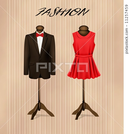 A suit and a retro formal dress on mannequins. Vector. 11257459