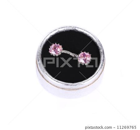 Earrings with purple amethyst gems. 11269765