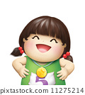 happy little girl win the competition with golden coin illustration 11275214
